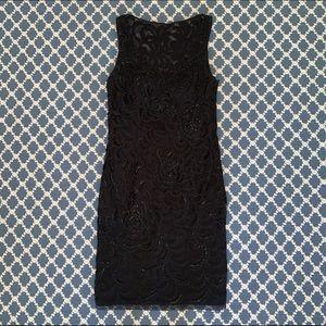 Sue Wong Black Beaded Cocktail Dress
